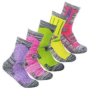 Women's Hiking Walking Running Socks - YUEDGE 5 Pack Women Multi Performance Wicking Cushion Crew Socks Year Round(Assortment 5Pack Pink/Red/Green/Yellow/Purple)