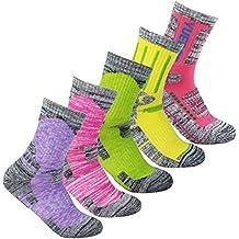 YUEDGE 5 Pares Mujer Senderismo Calcetines para Trekking Camping Ciclismo Tenis y Otros Deportes, Transpirable, Alto Rendimiento