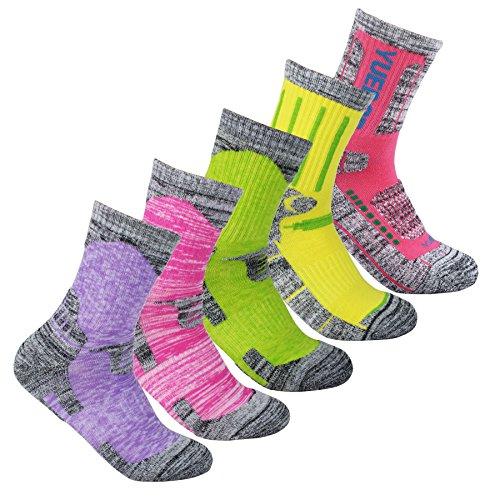 Calze donna yuedge 5 paia wicking anti-vesciche multi-prestazioni calzini (assortimento rosa/rosso/verde/giallo/viola)