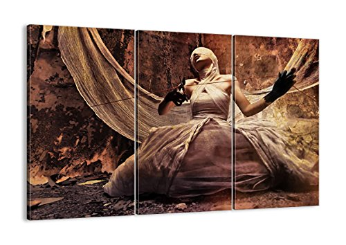 Bild auf Leinwand - Leinwandbilder - DREI Teile - Breite: 165cm, Höhe: 110cm - Bildnummer 0217 - dreiteilig - mehrteilig - zum Aufhängen bereit - Bilder - Kunstdruck - CE165x110-0217 (Schauspielerin Halloween-kostüme Film)