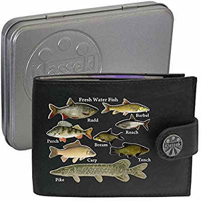 Freshwater Fish Fishermans River Lake Anglers Klassek Black Soft Leather Wallet fishing Image Gift
