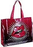 """'Shop perbag """"Lips aprox. 41x 12x 32cm Poliéster brillante estilo Comic magenta-schwarz"""