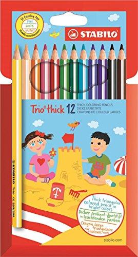 Zwei Dicke Streifen Farbe (STABILO Trio dick Dreikant-Buntstift - 12er Pack mit 12 verschiedenen Farben)