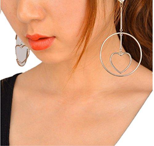 lclrute Mode or La Mode Grils Cœur d'oreille clip Bijoux gland boucles d'oreilles Silber