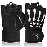 Alphachoice Trainingshandschuhe/Handschuhe Training - Fitness Handschuhe Herren und Damen - einsetzbar als Sporthandschuhe, Gym Handschuhe, Gewichthandschuhe - Skelett Design und Handgelenkschutz