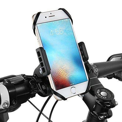Support Téléphone Moto Vélo VTT Trottinette Scooter Siroflo Support Telephone Moto Rotatif à 360 Degrés Compatible avec iPhone 8 plus 8 7 7 Plus 6 6 Plus iPhone SE, Samsung Galaxy S8 S7 S6 J5 A5, Wiko, HTC, Huawei etc.- Universel Support Vélo du Guidon