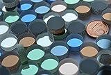 30 Stück Spiegelmosaik rund bunt ca. 12mm Stärke 4-5mm ca.38g