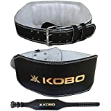 "Kobo 6"" Wide Power Weight Lifting Leather Gym Belt Black"