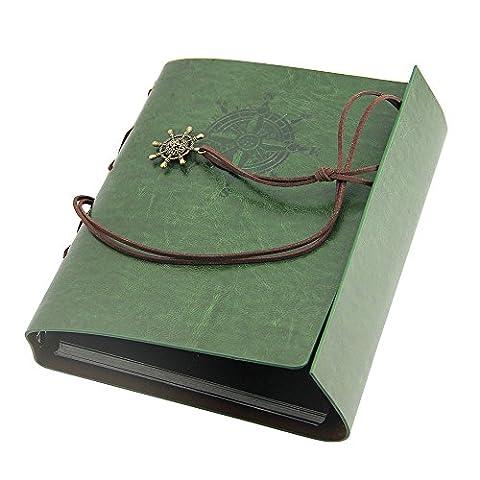 JTDEAL Handmade DIY Self-Adhesive Retro Vintage Leather Journal Scrapbooking Photo Album, An Ideal Gift for Mother's Day, Christmas, Weddings, Birthdays (Dark