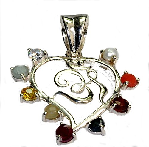 Moshun International Natural Navratna 9 Stones Navgrah 92.5 Silver OM Pendant Astrological