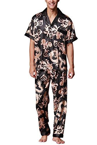 Dolamen Herren Schlafanzug, Satin Retro Druck Lang Zweiteiliger Pyjamas Frühling Sommer, Herren Schlafanzug mit Überprüfen Sie geknöpftes Hemd Kragen mit Tasche L XL XXL Schwarz