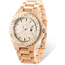 GBlife BEWELL ZS-100BG Mens Wooden Watch Analog Quartz Movement with Date Display Retro Style-Maple Wood