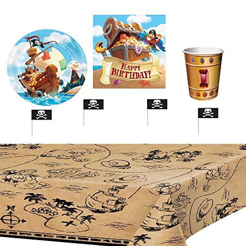 Pirat Party Supplies Geburtstag Partyartikel Partygeschirr Dekoration, Tischdecke, Ballons, Teller, Kelche, Servietten, 8 ()