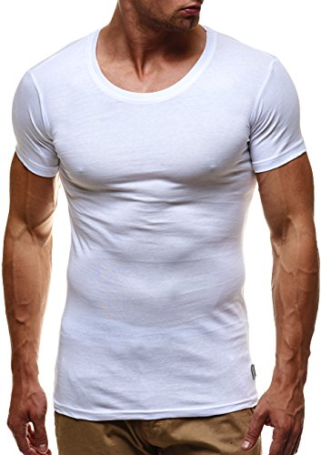 LEIF NELSON Herren Basic T-Shirt Rundhals Sweatshirt Hoodie Hoody LN6373 Weiß