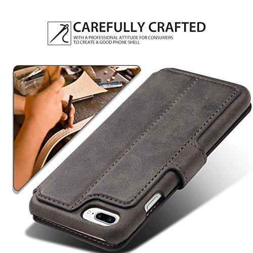 Coque iPhone 7, Pasonomi [Ultra Slim][Fonction support] [Card Slot Series] Coque en Cuir Debout Voir le Journal Flip Cover Wallet Coque pour Apple iPhone 7, Noir Noir