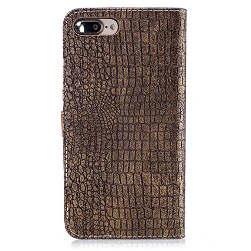 """Pour iPhone 7 Plus (5.5"""") Etui Coque Luxe Crocodile Texture PU Cuir Housse à rabat Portefeuille Antichocs Case - Bleu Foncé Or"""