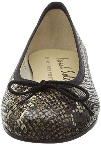 French Sole Henrietta Python Snake, Closed Toe Ballet Flat femme Beige (Beige)