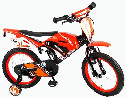 Volare Kinderfahrrad Motobike 16 Zoll Schwarz/Orange mit Rücktrittbremse Stützrädern vormontiert