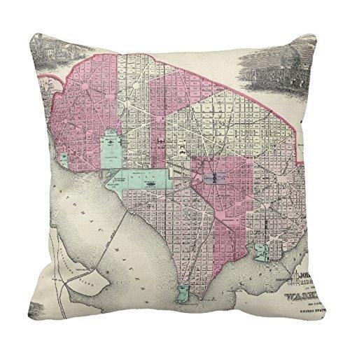 Decorative Cotton 18 X 18 Twin Sides Vintage Map Of Washington D.C. (1866) Pillowcase