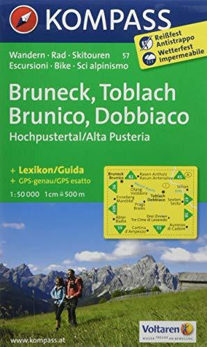Carta escursionistica n. 57. Brunico, Dobbiaco, Alta Val Pusteria-Bru neck, Toblach, Hochpustertal. Adatto a GPS. Digital map. DVD-ROM: Wandelkaart 1:50 000