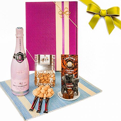 """Geschenkkorb """"Herzlichen Glückwunsch"""" mit 4 leckeren Spezialitäten als Geburtstagsgeschenk / mit Flasche Brut Dargent, Trüffelpralinen, Amarettini & Valrhona Schokoladen-Stäbchen / Geschenkbox / - Gourmet Edelbitter-schokolade Geschenk"""