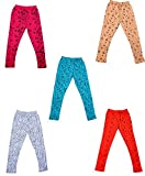 #5: IndiWeaves Girls Super Soft and Stylish Cotton Printed Legging(Pack of 5)_7142120191716-IW-P5