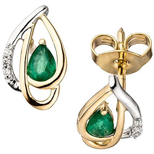 JOBO orecchini 585 oro giallo bicolor 6 diamanti brillanti 2 smeraldi verdi