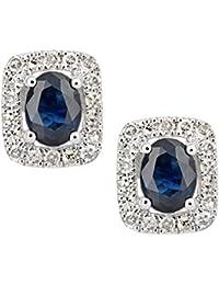 Naava Women's 9ct White Gold Sapphire and Diamond Oval Gemstone Stud Earrings Lgfe2UXOL