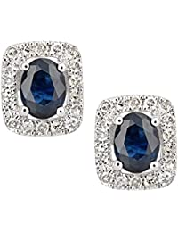 Naava Women's 9ct White Gold Sapphire and Diamond Oval Gemstone Stud Earrings