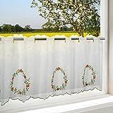 Tischdeckenshop24 Scheibengardine Flowers Circle mit Glitzersteinen Applikationen für die Küche, Weiße Wohnzimmer Bistrogardine, 45x120 cm, Moderne und Transparente Gardine für Den Frühling