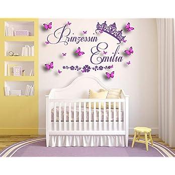 Personalisierter Name, Princess, Prinzessin, Vinyl Wandkunst Aufkleber, Wandgemälde, Wandtattoo mit 3D-Schmetterlingen. Kinderzimmer, Baby Schlafzimmer, Spielzimmer.