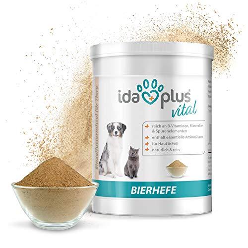 Ida Plus - Reines Bierhefe-Pulver - 500g - 100% Naturprodukt für Hunde, Katzen & Pferde - Futterergänzung für glänzendes Fell & kräftige Haut - reich an B-Vitaminen, Mineralien & Spurenelemente