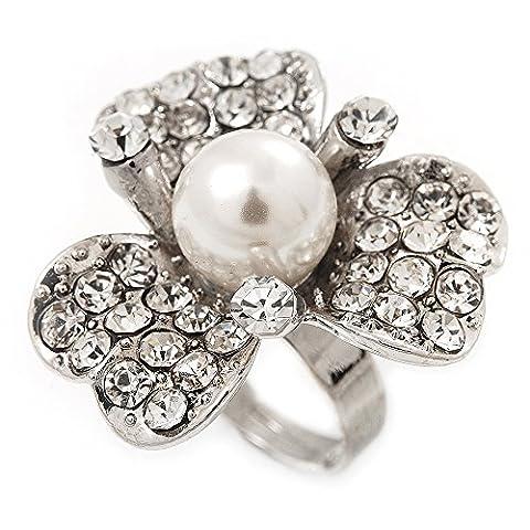 3 pétales avec fausses perles Cristal Daisy-Bague femme en plaqué Rhodium-diamètre 3 cm
