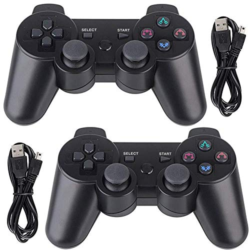 PS3 Kabelloser Controller, 2 Stück, Sixaxis Double Shock Bluetooth Gaming Controller für Sony Playstation 3 mit Ladekabel (PS3 Controller 2er-Pack), Schwarz