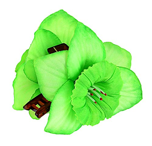 Edle TIKI Flower HIBISKUS Blüten Haarspange Rockabilly - Grün
