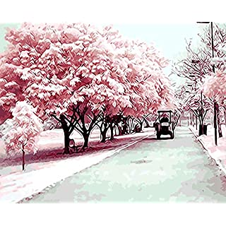 Cherry Blossom Avenue DIY Digital Painting by Numbers Modern Wall Art Canvas Painting Unique Gift Home Decor@DIY Frame 40X50CM