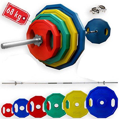 BodyRip 68kg Polygon Gewicht Teller mit 7ft 2,5cm Standard Barbell komplett-Set (Gewicht Teller-set Standard)