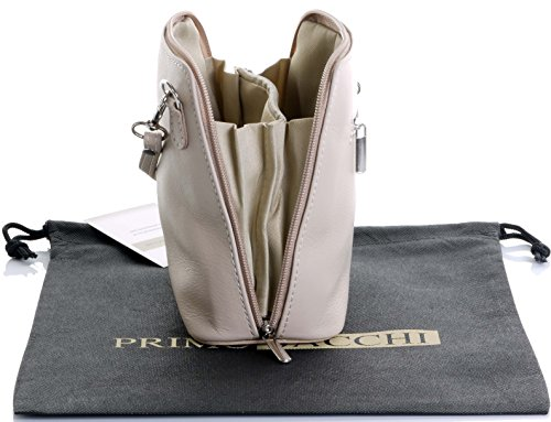 Italiano in morbida pelle, piccole/Micro croce corpo borsa o borsetta borsa a tracolla.Include una custodia protettiva. Beige chiaro