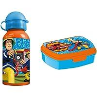 Preisvergleich für Feuerwehrmann Sam Pausenset mit Brotdose Lunchbox und Alu Trinkflasche