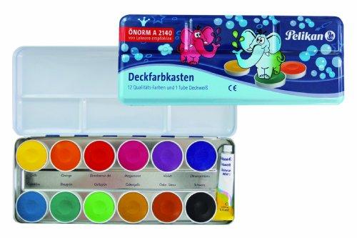Pelikan DF12 Deckfarbkasten, 12 Farben und 1 Tube, deckweiß