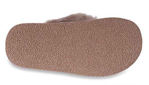 Nordvek - Pantoufles pour femme - peau de mouton - style flip flop - # 411-100 Ardoise