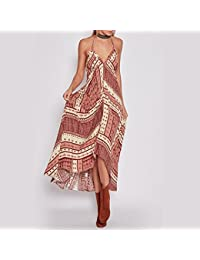 31469e3dd0 Broadroot Mujer Maxi vestido largo de Bohemia floral print dress (rojo  flor) (S