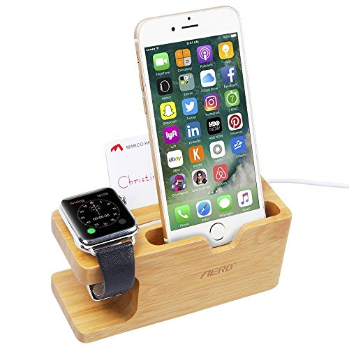 Apple Watch Stand, Aerb Bamboo Docking Station Ladestation Halterung für Apple Watch 38/42mm und iPhone 5 / 5S / 5C / 6 /6 PLUS / 6S / 6S Plus