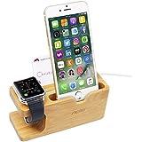[Upgrade-Version] Aerb Apfel-Uhr-Standplatz, neuer Schlitz für namecard Ablage, iWatch Bambusholz-aufladenstand-Haltewinkel Docking Station Vorrat-Aufnahmevorrichtungshalter für Apple-Uhr und iPhone 7 / 7S / 7 plus / 5C / 6/6 PLUS / 6S / 6S Plus