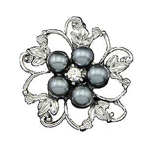 Sabrina Schmuck Blume geformt Silber ¨¹berzog Brosche und ?sterreichischen Kristall gebildet mit Swarovski Elementen f¨¹r Frauen und M?dchen als ein besonderes Geschenk. Gray.