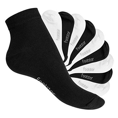 Footstar 10 Paar SNEAK IT! Unisex Kurzschaft Sneaker Schwarz/Weiss Mix (5 x Schwarz + 5 x Weiss)-43-46