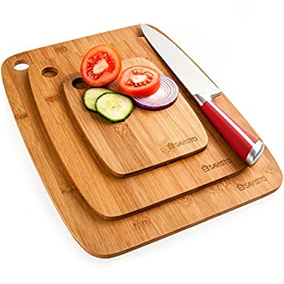 Savisto Bamboo Chopping Boards | 3 Piece Wooden Cutting Board Set for Meat, Vegetables, Cheese & Bread
