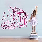 autocollant mural sticker mural Licorne personnalisée Nom Fille Chambre Chambre Cheval Cheval Nom Prénom Salon Chambre d'enfant