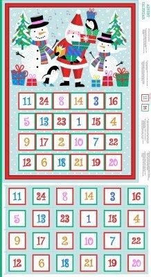 Weihnachten Advent Kalender Weihnachtsstrumpf Stoff-Adventskalender-Panel 60cm x 110cm-von Makower-100% Baumwolle mehrfarbig -