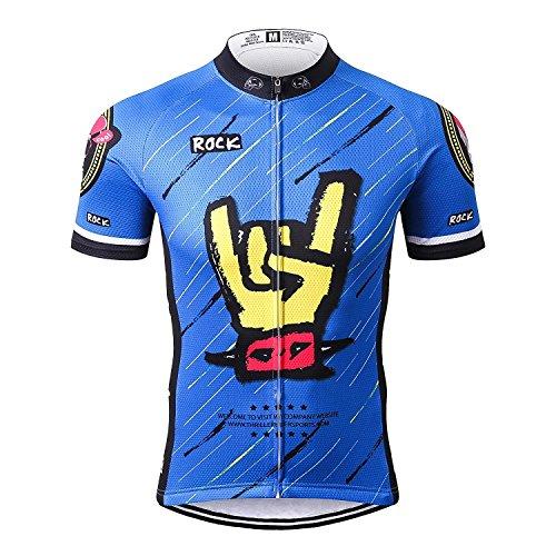 Thriller rider sports® uomo rock music blue sport e tempo libero abbigliamento ciclismo magliette manica corta large 3x-large